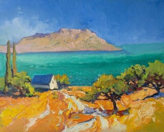 Turquoise Mediterranean Sea from Greek Islands, Oil Painting