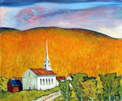 Evening, Stowe Community Church, Vermont, Oil Painting