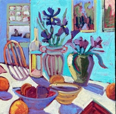 Table with Flowers and Bowls, Oil Painting
