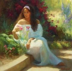 Alana in the Flower Garden, Oil Painting