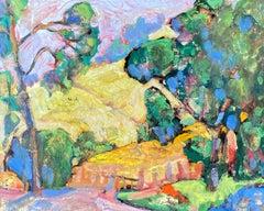 Encaustic Mountain Landscape, Original Painting
