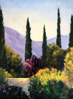 Garden Vista, Cypresses and Plum, Oil Painting