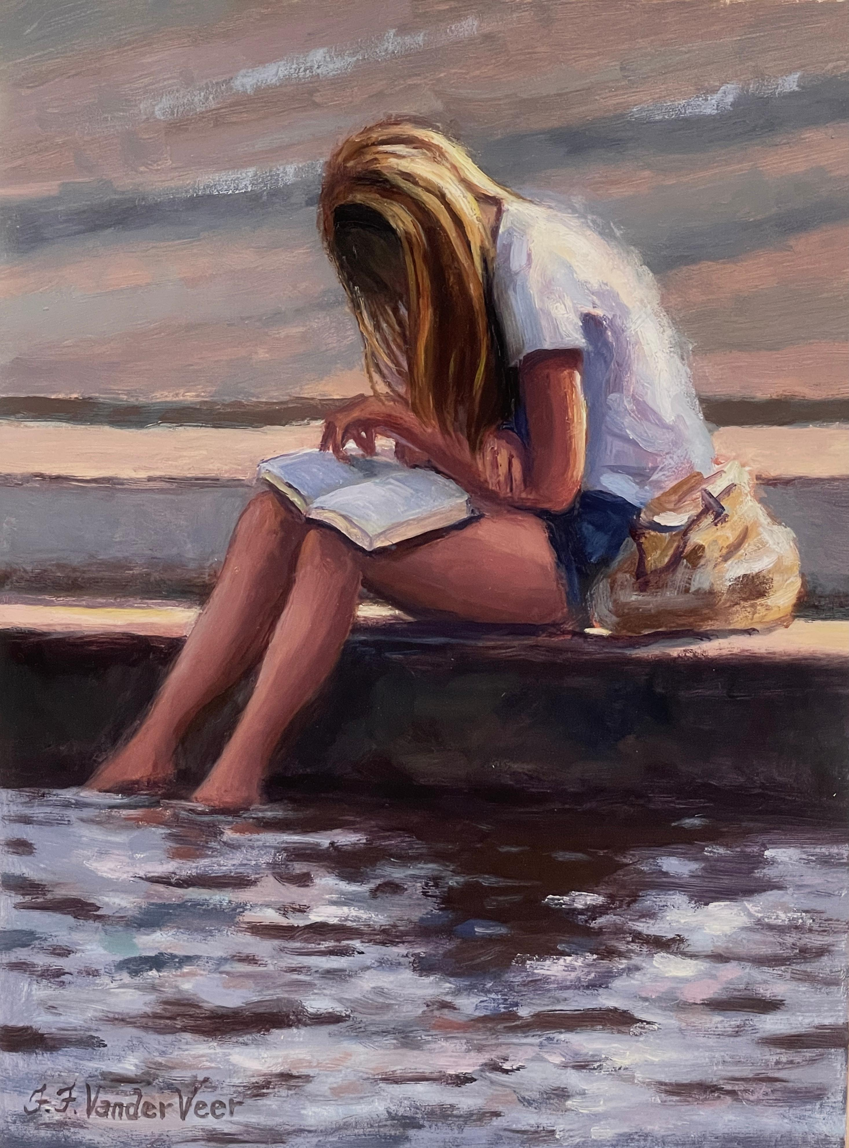 Young Girl Reading, Oil Painting