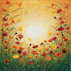 Sunshine Joyous Flowers, Original Painting