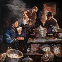 Momo and Thukpa, Oil Painting