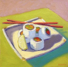 Five Sushi Rolls, Oil Painting