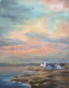 Colorful Sky over Rocky Coast, Oil Painting