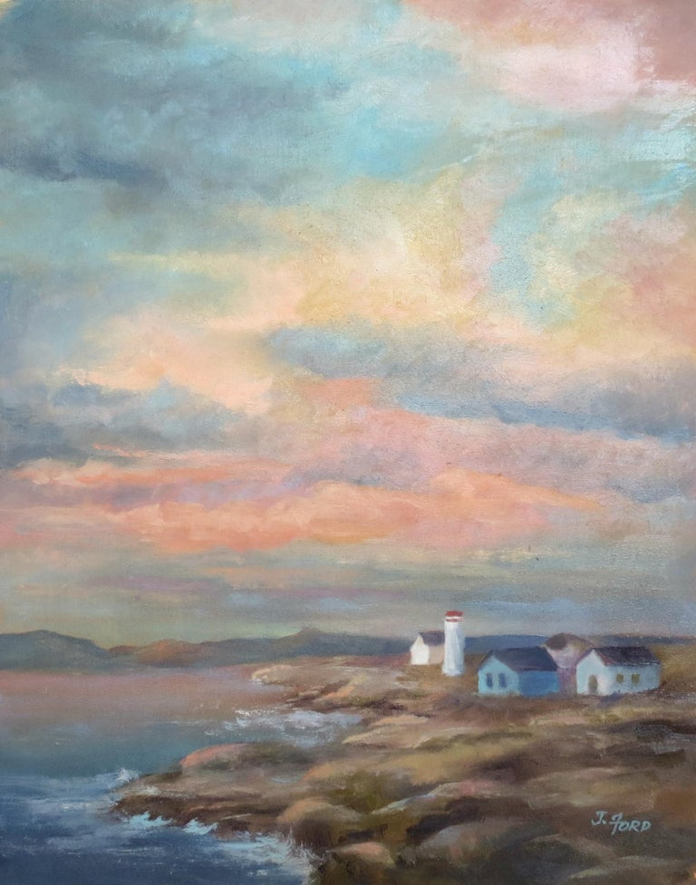 Colorful Sky over Rocky Coast, Oil Painting - Art by Joanie Ford