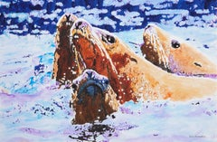 Steller Sea Lions at Sea, Original Painting