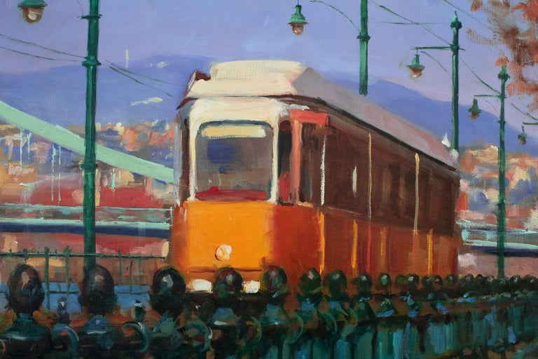 Streetcar in Budapest - Abstract Impressionist Art by Jonelle Summerfield