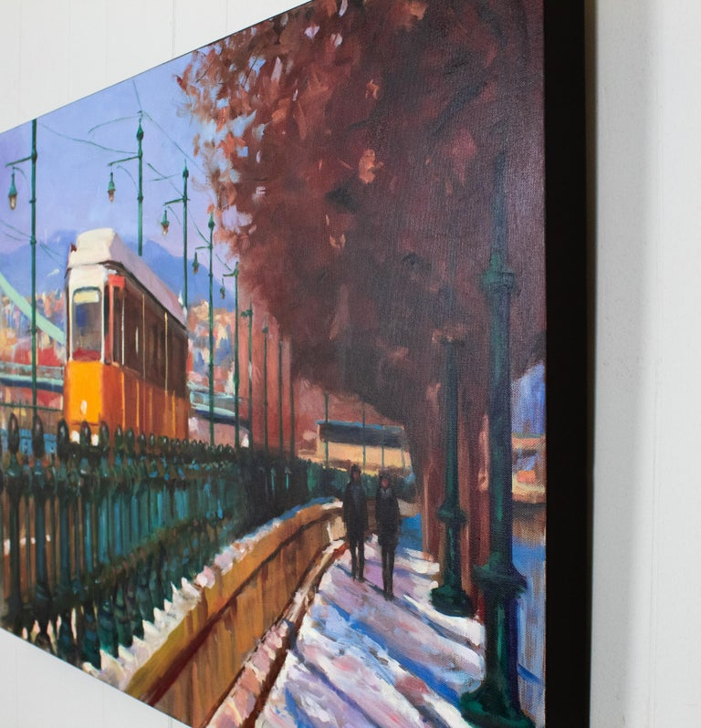 <p>Artist Comments<br />Yellow is a prominent color in Budapest. The streetcars and many of the buildings are yellow, which greatly cheered up the gloomy days, and made the sunny days even brighter. The canvas edges are painted raw umber and the