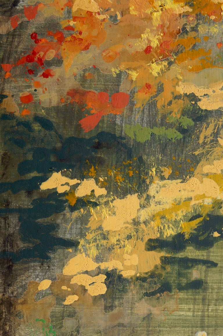 <p>Artist Comments<br />This is a Japanese-style garden with a pond reflecting the fall foliage.  I painted it in delicate colors to emphasize the serenity of such gardens.</p><p>About the Artist<br />English artist Sidonie Caron lives in the