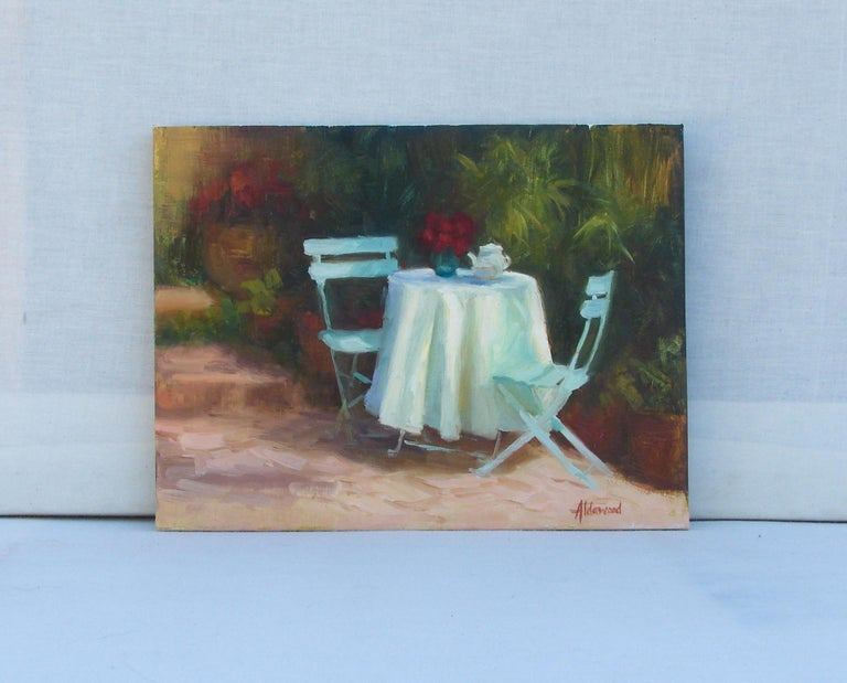 Garden Tea - Abstract Impressionist Painting by Sherri Aldawood