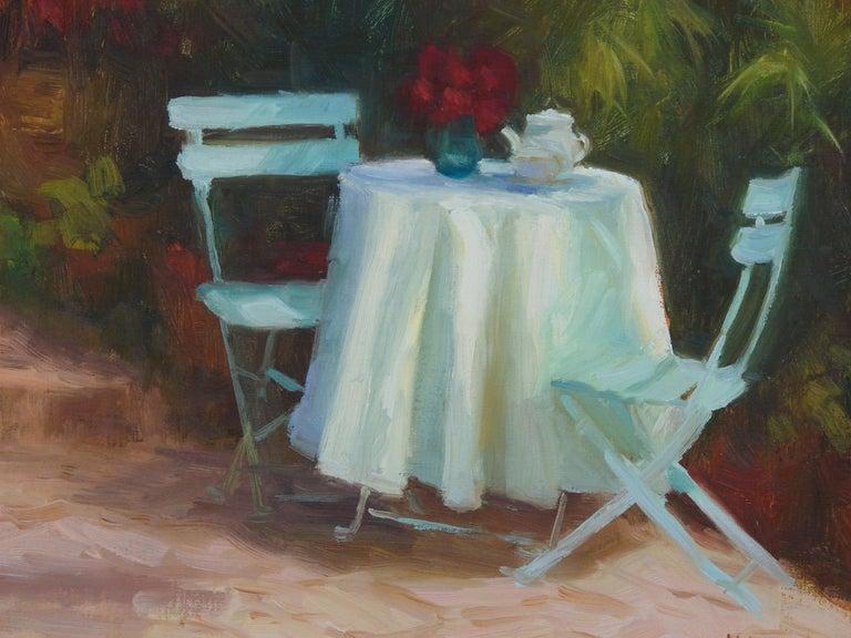 Garden Tea - Black Still-Life Painting by Sherri Aldawood