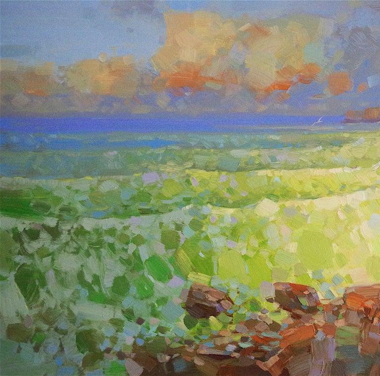 Emerald Ocean - Brown Landscape Painting by Vahe Yeremyan