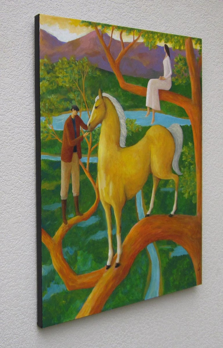 Surreal Horse Painting, Palomino Tree - Abstract Expressionist Art by Glenn Quist