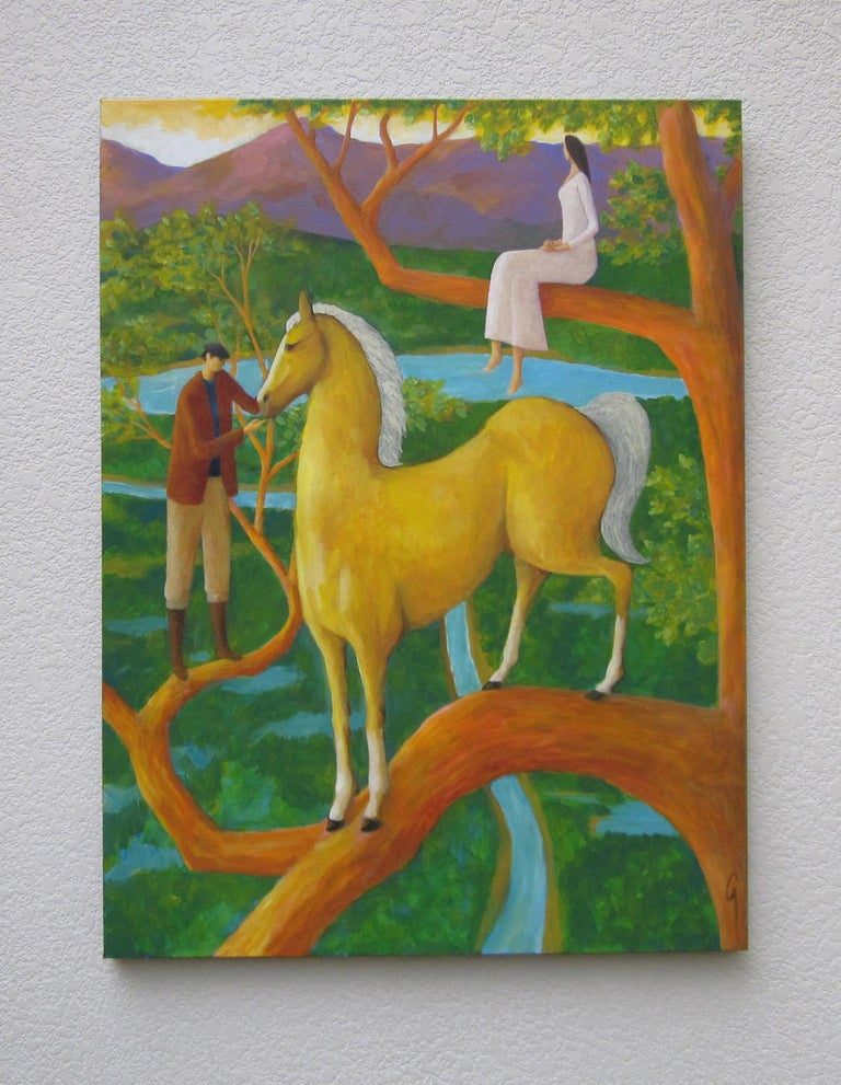 <p>Artist Comments<br />Palomino Tree came more or less in a dream of a horse high up in a tree. This painting is on a gallery wrapped canvas with finished edges. It comes ready to hang. </p><p>About the Artist<br />Glenn Quist is a full-time artist