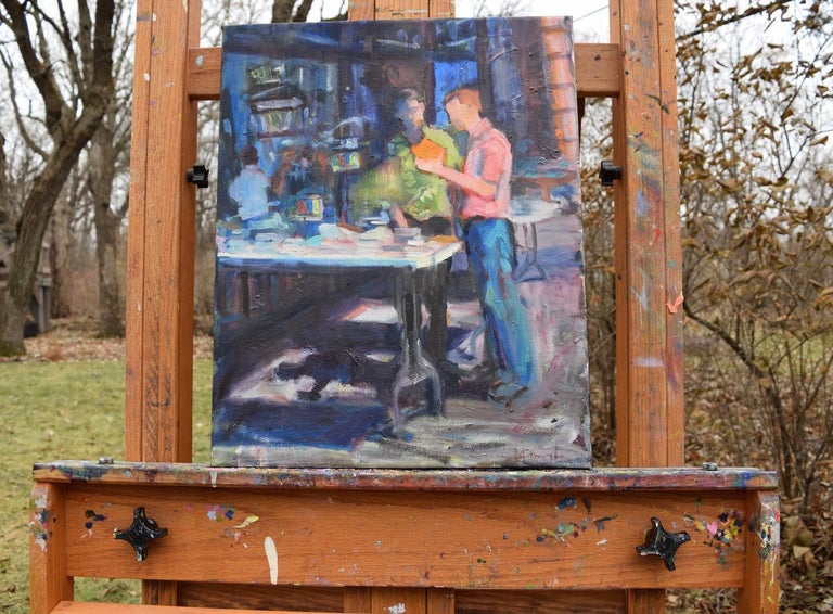 <p>Artist Comments<br>Who doesn't enjoy a used-book sale?  These two seem to be discussing a good find.  I liked creating the deep shadows, reflections, and bit of view into the shop.</p><p>About the Artist<br>Minnesota-based impressionist Mickey