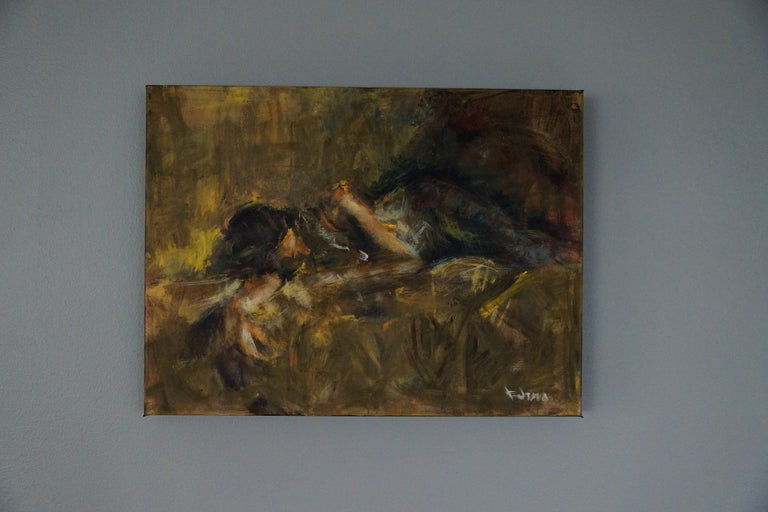 <p>Artist Comments<br>Three quarter view of a sleeping woman, hence the title of time and a half;realized in my unique method of painting with natural sea sponges.</p><p>About the Artist<br>Wynston Edun was born in Nigeria and emigrated to the