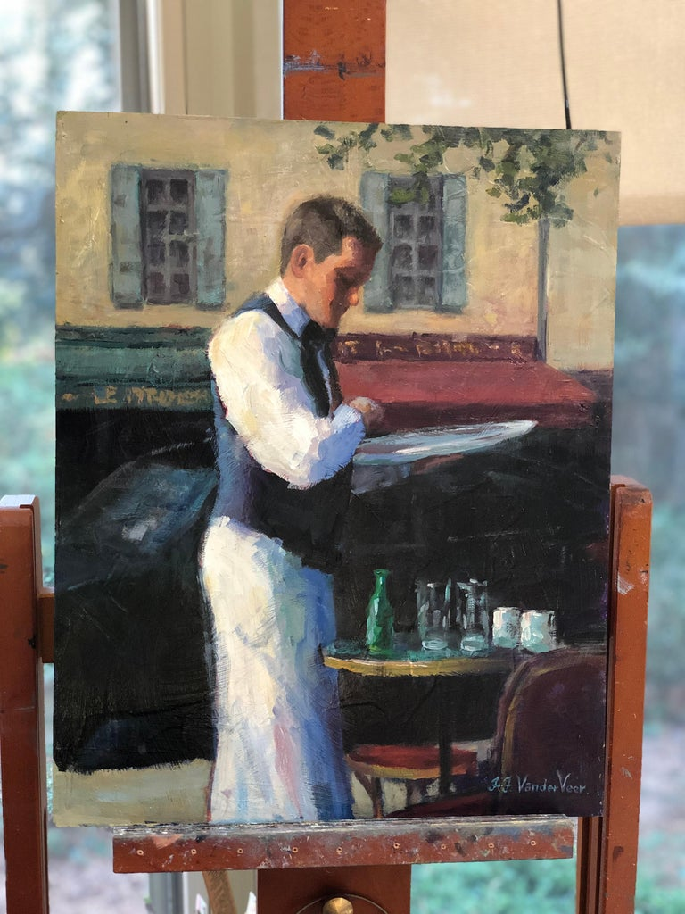 <p>Artist Comments<br>Ever since I first visited Paris, I have been impressed by the professionalism and dignity of the waiters at the restaurants I visited.  Whenever I could, I would discretely photograph them to use as reference material for