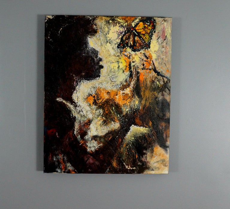 <p>Artist Comments<br>A child in the garden staring in awe at a monarch butterfly. She too is worthy of monarchy. I predominantly paint using natural sea sponges.</p><p>About the Artist<br>Wynston Edun was born in Nigeria and emigrated to the United