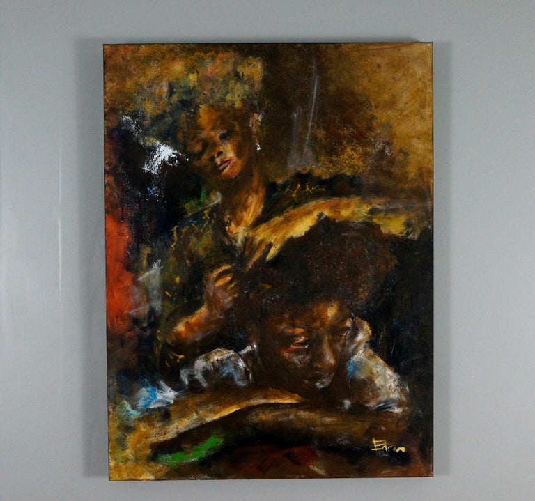 <p>Artist Comments<br>Being the father of two daughters, the Sunday afternoon hair ritual with their mother was like a rite of passage. I predominantly use natural sea sponges to create my paintings.</p><p>About the Artist<br>Wynston Edun was born