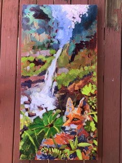Costa Rica Falls with Fox, Oil Painting