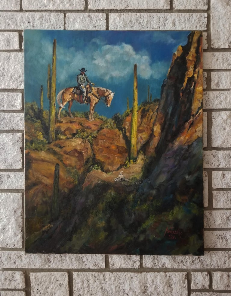 <p>Artist Comments<br />A cowboy encounters the skull of a steer lost long ago.