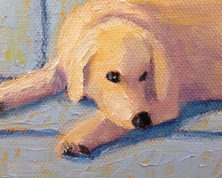 Lab on Blue Couch, Oil Painting For Sale 3