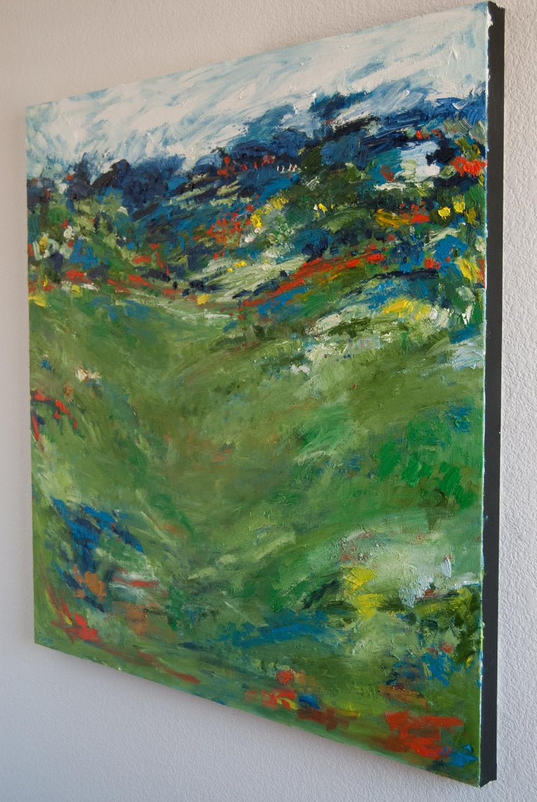 Summer Green, Abstract Oil Painting - Gray Abstract Painting by Kajal Zaveri