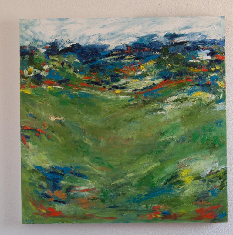 <p>Artist Comments<br />Abstracted landscape inspired by summer in northern California. Grassy hills blanketed in wildflowers. Shades of green and blue accented with vibrant red and yellow. Painterly brushwork and highly textured surface.</p><br