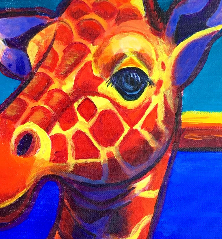 Giraffe in Blue, Original Painting For Sale 1