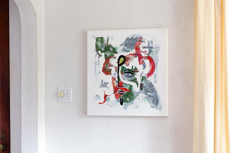 <p>Artist Comments<br />Spiritual portrait inspired by the work of Picasso and Dali. Birds, miniature faces and small animals materialize around the subject. Cameron says the figure is the one who listens to the bird's message as it is transmitted