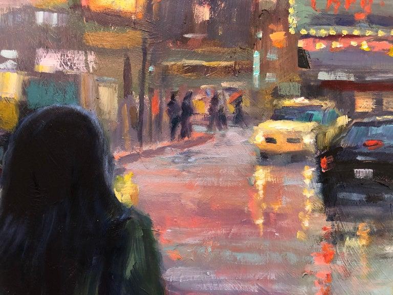 November Rain, Oil Painting - Black Figurative Painting by Faye Vander Veer