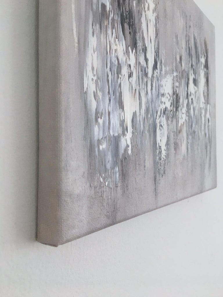 Memory Stones 5, Abstract Oil Painting - Gray Abstract Painting by Morgan Fite