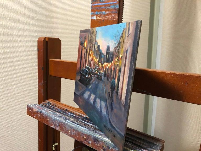 Night Walk, Oil Painting - Abstract Impressionist Art by Faye Vander Veer