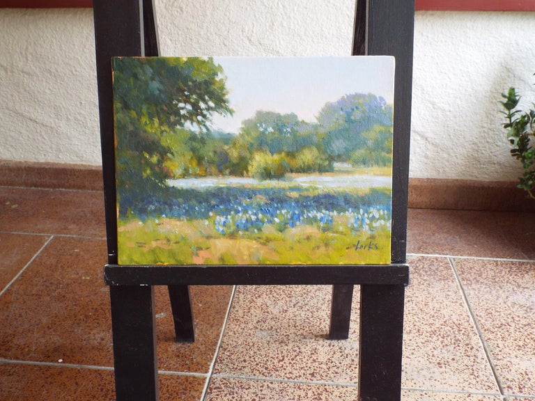 <p>Artist Comments<br />A spring landscape in Texas Hill Country blooming with bluebonnets and surrounded by old growth oak trees.