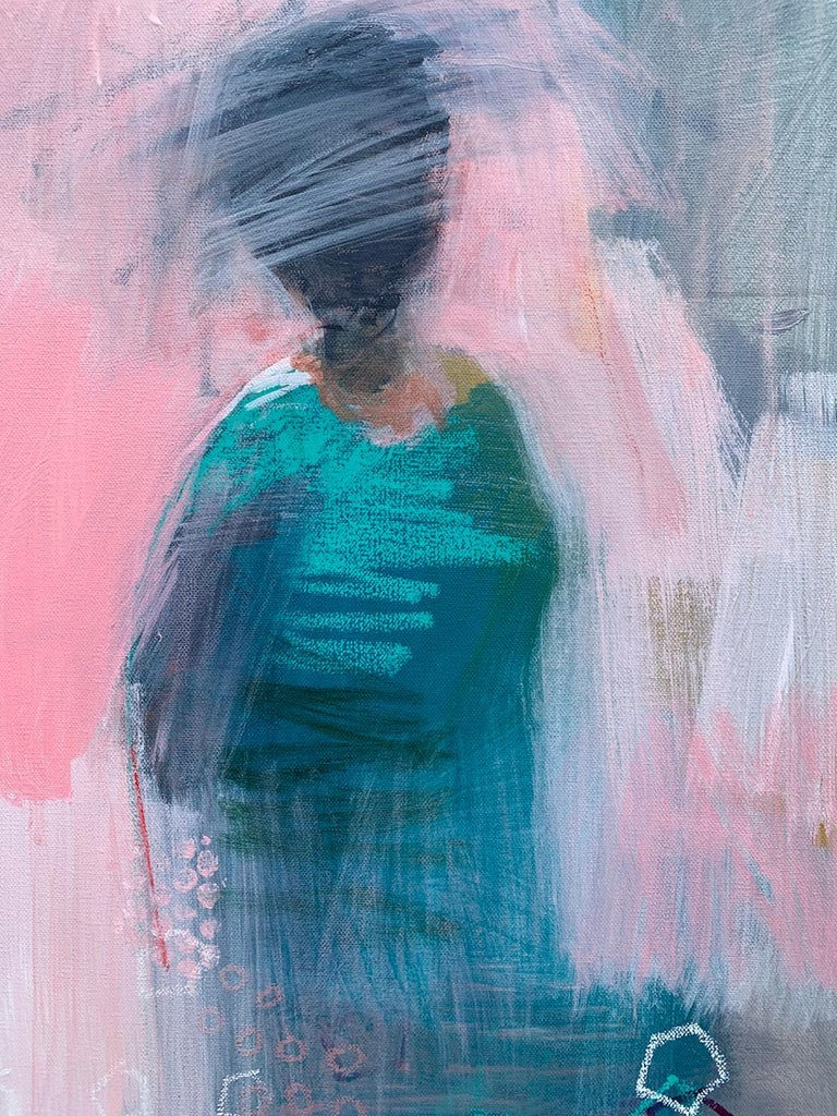 <p>Artist Comments<br> A figure stands against a warm pink backdrop. Rapid layers of blue and turquoise define her form. Transparent washes and dancing circular forms around the composition provide many points of interest.  Part of Gena's ongoing