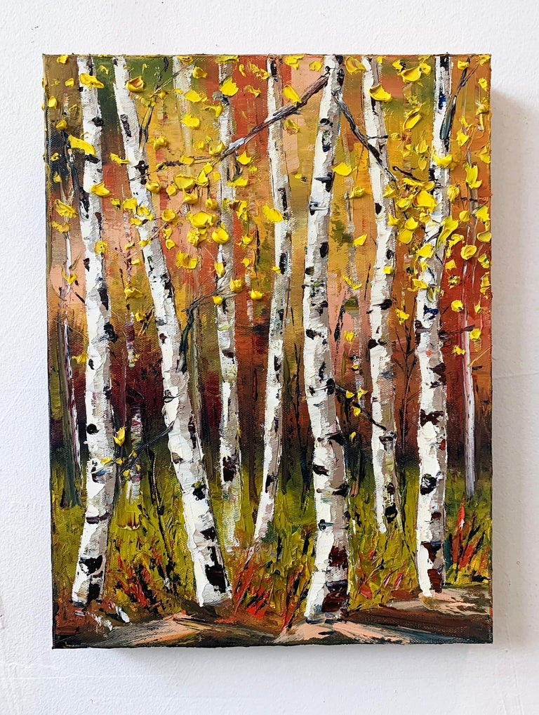 <p>Artist Comments<br />An autumn landscape with the golden leaves of birch trees fluttering in the wind. Part of artist Lisa Elley's newest series using a