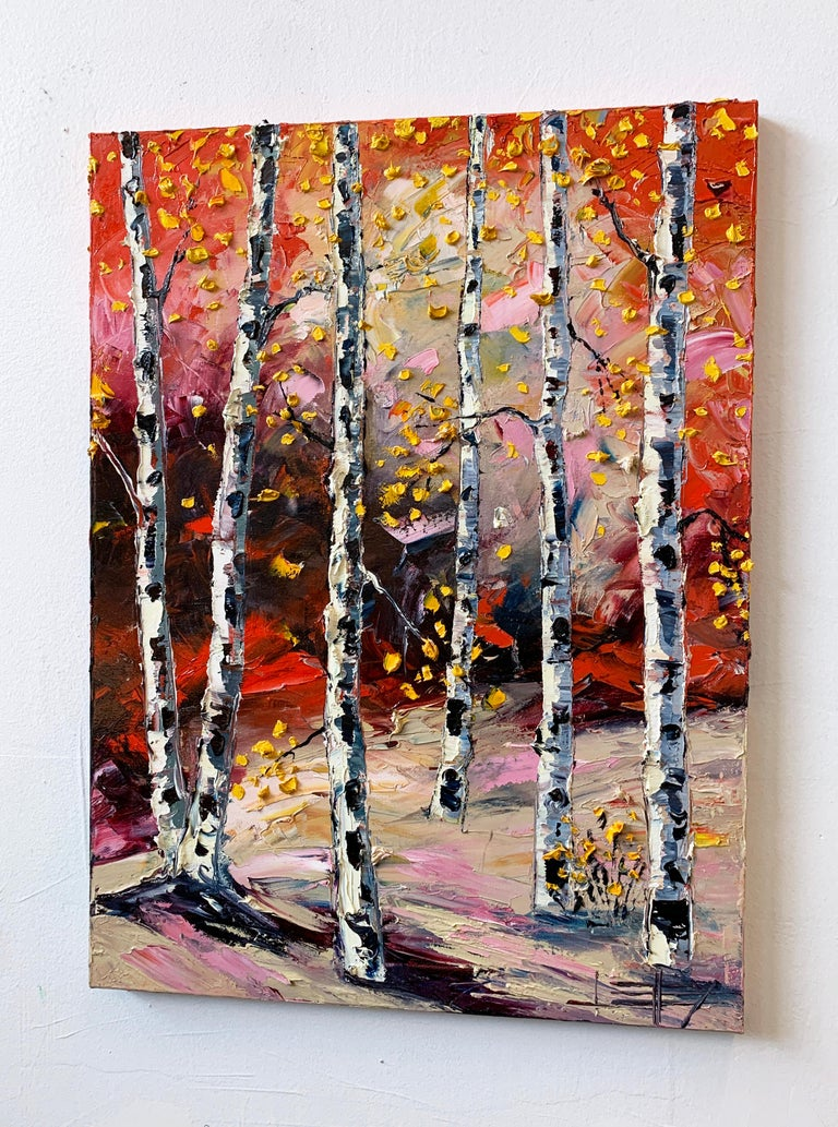 Feels Like Fall, Oil Painting - Abstract Impressionist Art by Lisa Elley