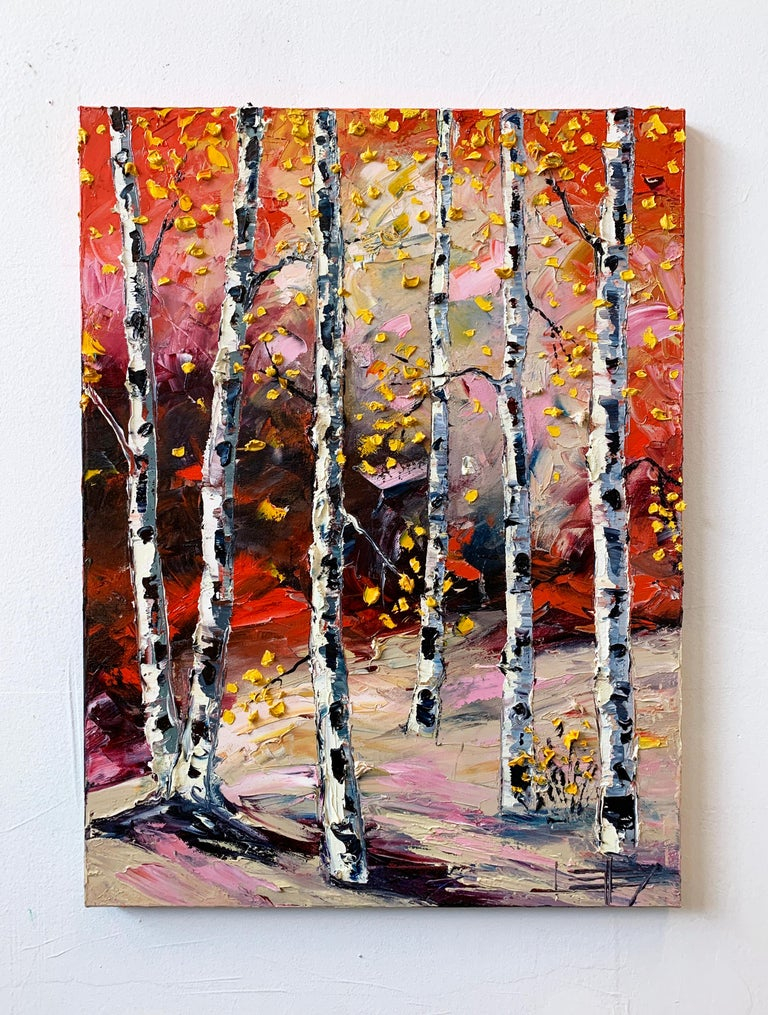 <p>Artist Comments<br />A striking autumn landscape with golden birch leaves against an inviting red and pink backdrop. Part of artist Lisa Elley's series using a