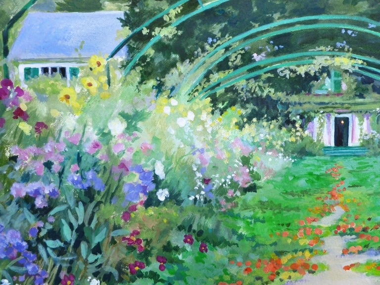 Arched Pathway in Monet's Garden, Giverny, Original Painting For Sale 1