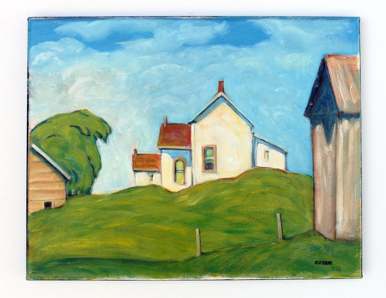 <p>Artist Comments<br />A small house proudly stands at the top of a grassy hill, warmed by the morning sunlight.