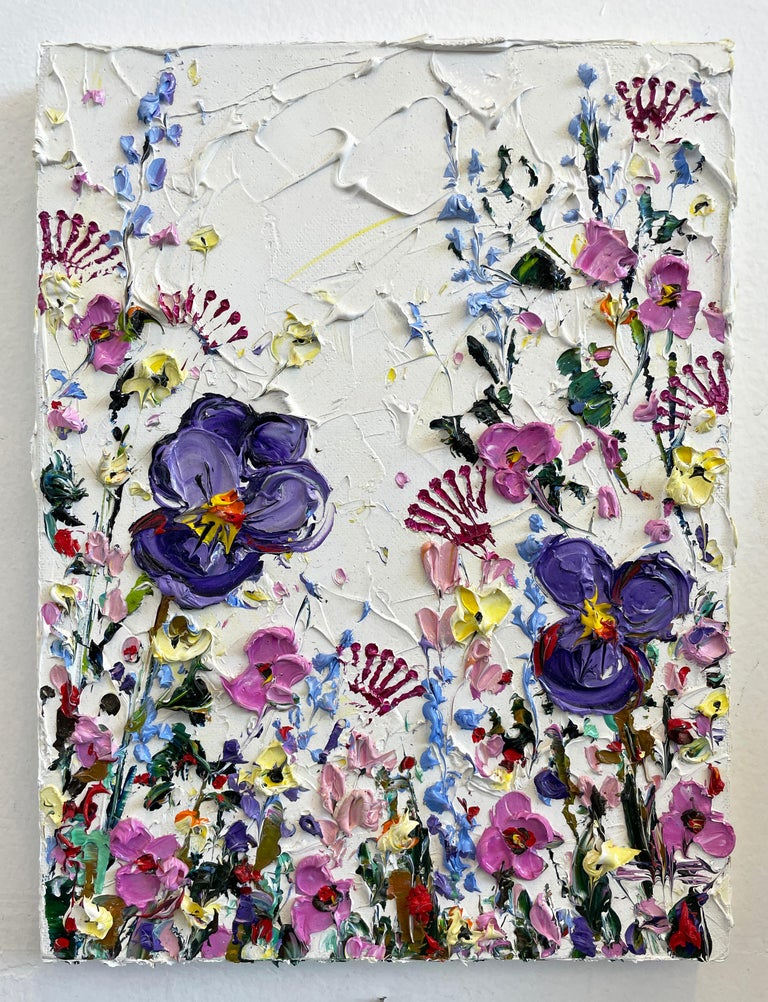 <p>Artist Comments<br />A garden vividly blooms aside purple pansies and thick towering lavenders. Flowers deeply resonate with artist Lisa Elley. She quotes Greek philosopher, Aristotle,