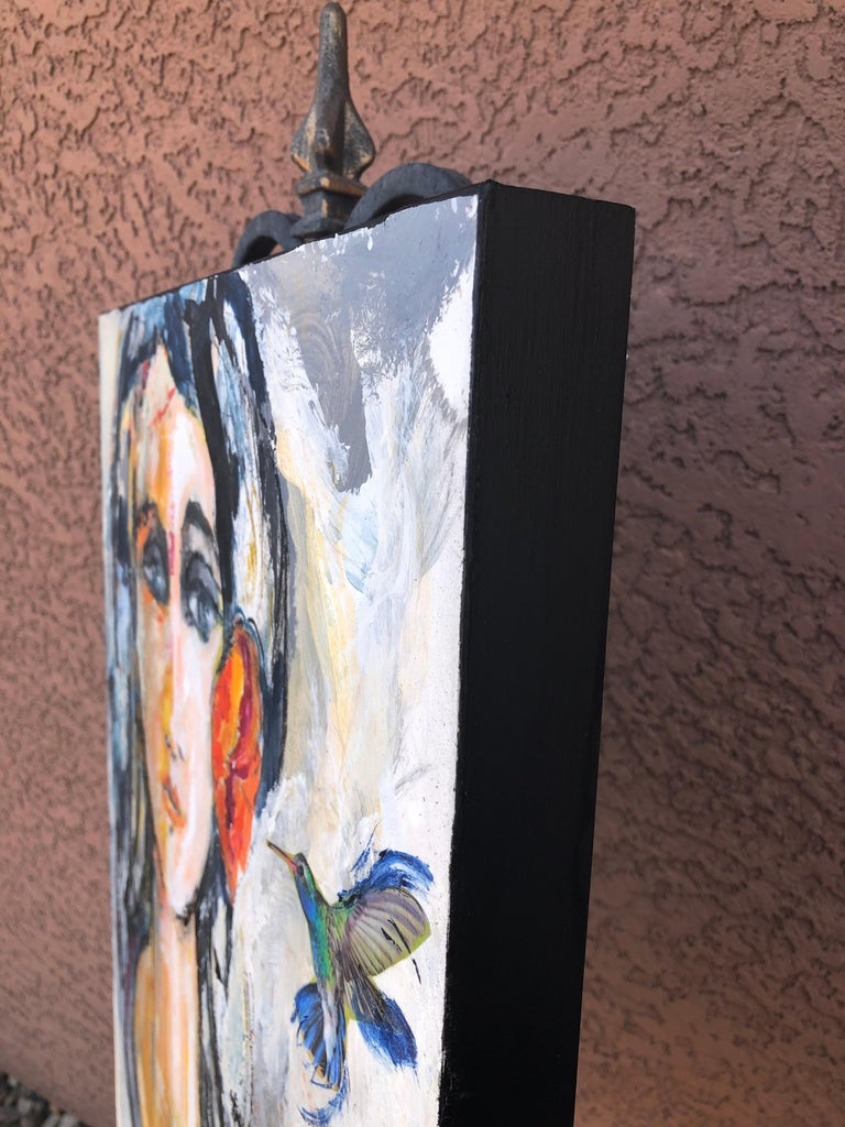 Tiny Visitor, Original Painting - Abstract Expressionist Art by Sharon Sieben