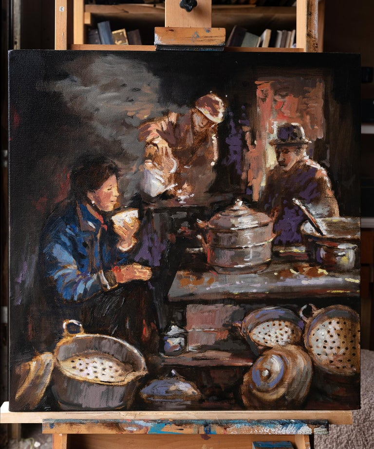 <p>Artist Comments<br>Three figures join together in the warmth of a delicious warm meal. Artist Yuvak Tuladhar paints this piece with a distant memory of eating Nepali and Tibetan style dumplings called