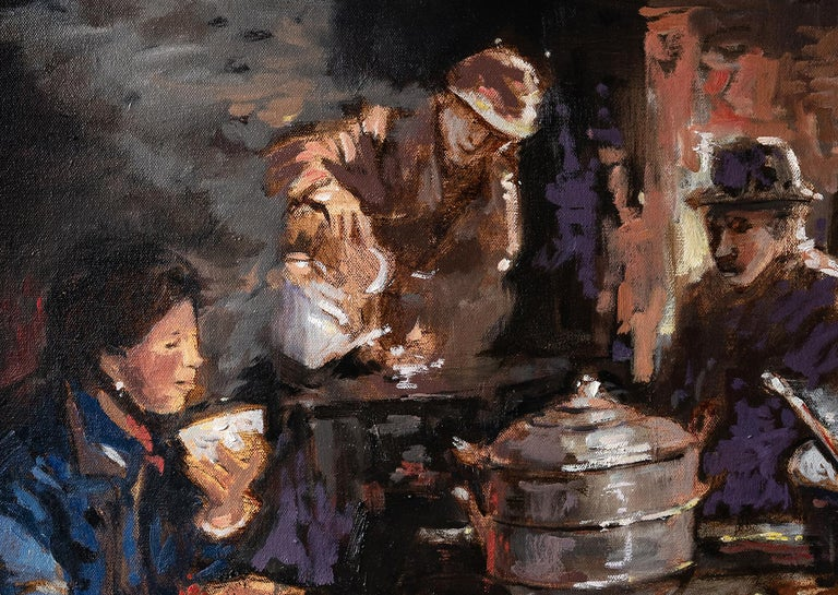 Momo and Thukpa, Oil Painting For Sale 1