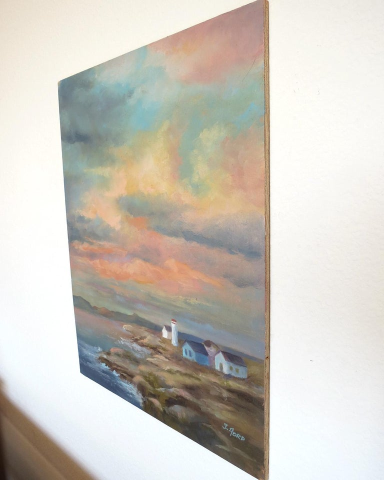 Colorful Sky over Rocky Coast, Oil Painting - Abstract Impressionist Art by Joanie Ford