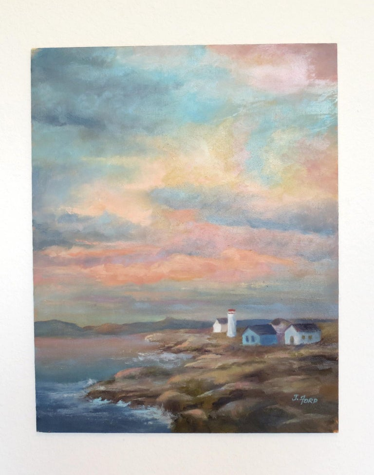 <p>Artist Comments<br>Billowing multi-colored pastel clouds stretch toward the horizon in this dreamy coastal scene by artist Joanie Ford. An open and inviting view of a rocky shoreline houses a small village.