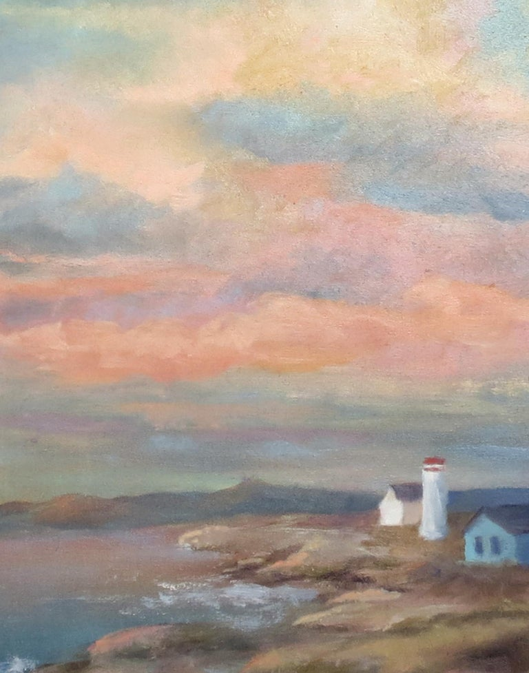 Colorful Sky over Rocky Coast, Oil Painting For Sale 1